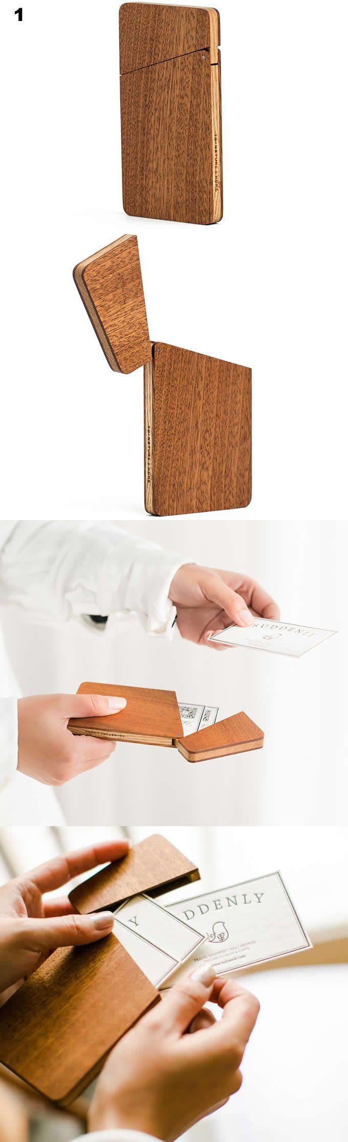 Handmade Wooden Business Card Case Holder