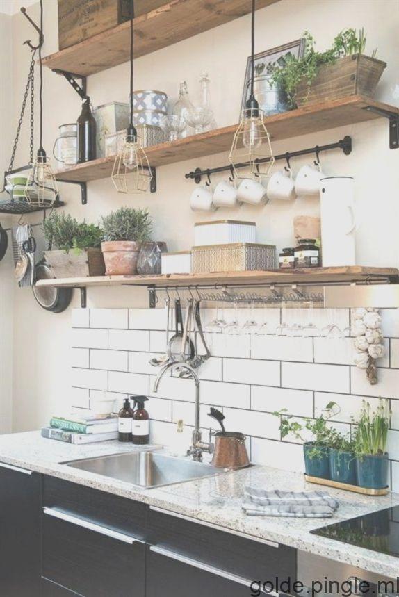 Mur Design Cuisine Blanc Carreaux De Mur Ouvert Des Etageres
