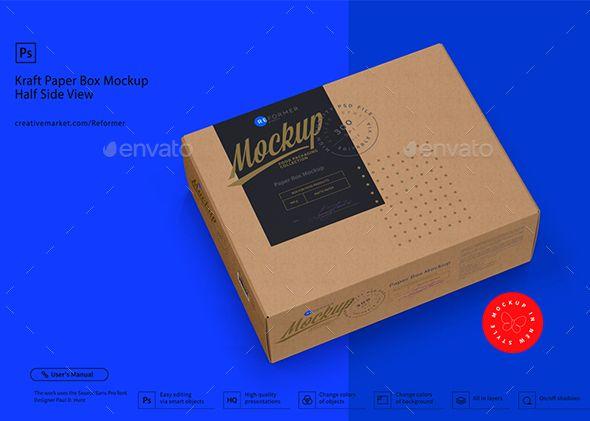 Download Kraft Paper Box Mockup Half Side View Box Mockup Paper Box Mockup