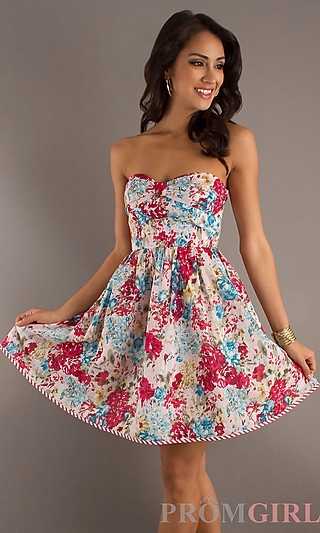 Short Strapless Floral Print Summer Dress at PromGirl.com | Dance ...