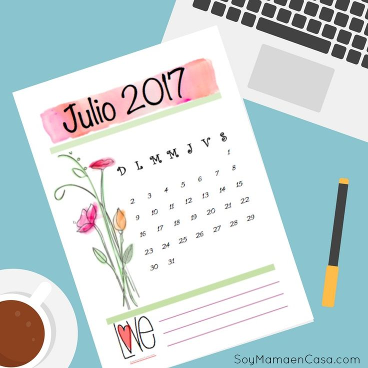 Lindo Calendario Julio 2017 para Imprimir. Printables, imprimibles