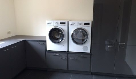 We decided to turn our secondary kitchen into a laundry room for our new washer dryer, and we liked them on a pedestal as it is much more functional.