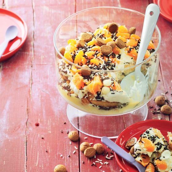 Gezellige trifle van mandarijnen, kruidnoten en surprisehagel #sint #sinterklaas #toetje