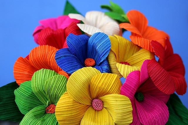 ✢ STYLE ✢ Viva Mexico   Flores de papel manualidad colorido solo foto bouquet ++ Paper flowers craft DIY #colorful #inspirational