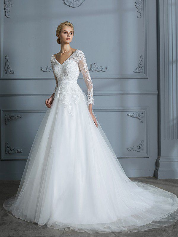 Ball Gown V-neck Long Sleeves Court Train Lace Tulle Wedding Dresses ...