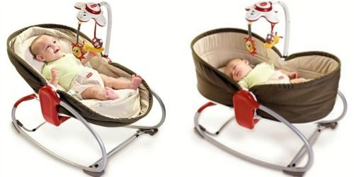 A bouncy that lays flat once they're asleep?!! Genius.