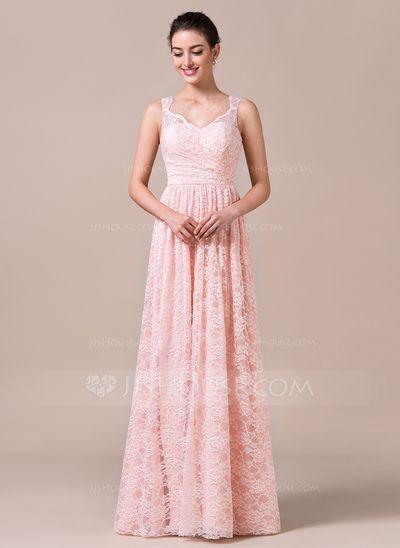 A-formet/Prinsesse V-hals Gulvlengde Blonder Brudepikekjole med Frynse (007057725)