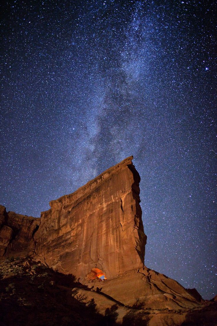 A photograph of a 'hole in the wall' at Arches National Park on October 21, 2011 in Utah    Read more: http://www.dailymail.co.uk/sciencetech/article-2097821/A-galaxy-far-away-Salt-Lake-City-photographer-captures-spectacular-images-Milky-Way-arched-pillars-canyons-Utah.html#ixzz1ubRBM9Xx