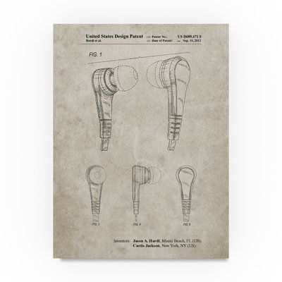 """Trademark Art 'Ear Buds' Drawing Print on Wrapped Canvas Size: 24"""" H x 18"""" W"""