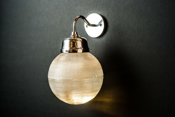 Vintage Holophane Glass and Aluminium Swan-neck Wall Light