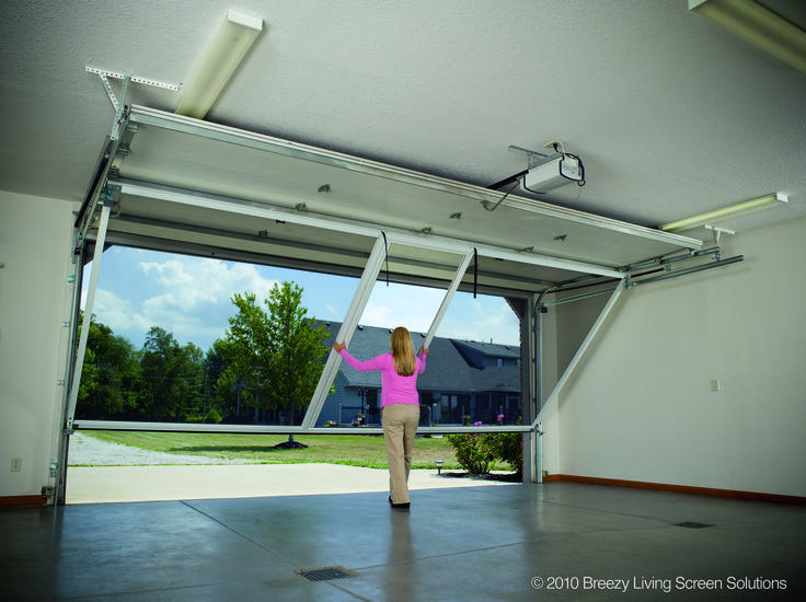 Garage Screen System - Lifestyle Garage Screen Door contains a retractable roll-up passage door