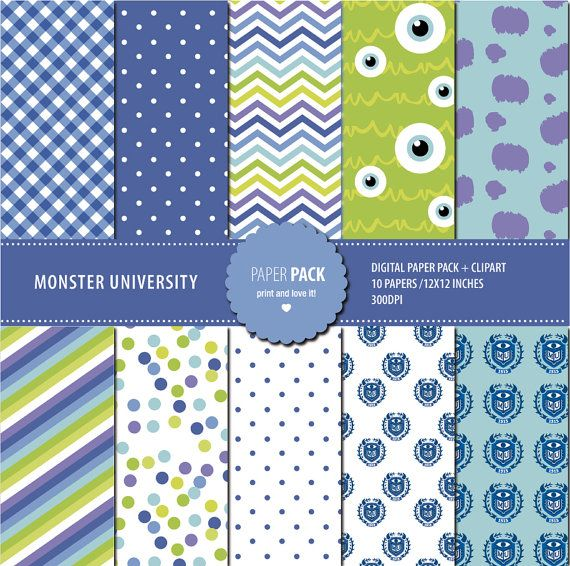 Digital Paper Pack and Clip Art Monster University Printable. 12x12 sheets 300 dpi scrapbooking + 10 PNG CLIPART