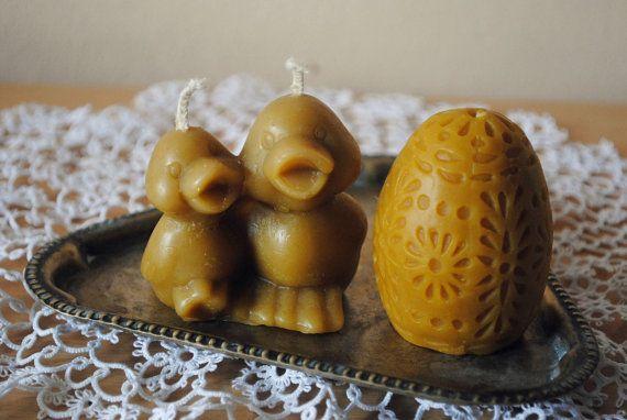 Anatre di cera d'api e uovo candele  candele di di CandlesParadise
