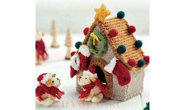 Вязаные рождественская будка собаки  и щенки