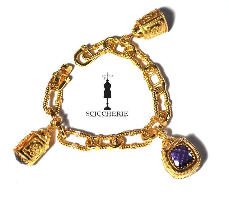 Bracciale bronzo in bagno d'oro giallo più tre pendenti con pietre idrotermali  #rebeccagioielli