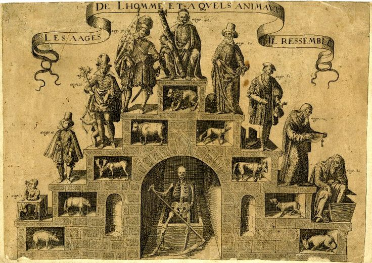 Allegorical scene with step-like construction with nine human figures representing different ages of man, each identified with an animal, Death with a scythe in a niche in lower centre  Engraving