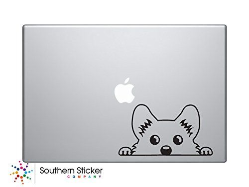 Cute corgi peeking symbol vinyl car sticker silhouette keypad track pad decal laptop skin ipad macbook