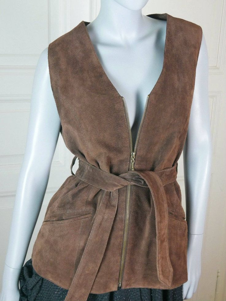 German Vintage Suede Vest Women's, Long Brown Suede Leather Waistcoat, Ladies' Leather Vest Zippered Belted: Size 12 US, Size 16 UK by YouLookAmazing on Etsy
