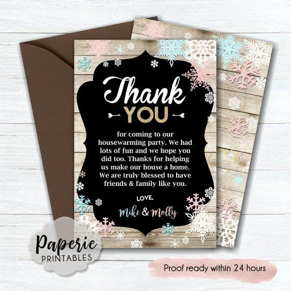 Winter Party Party Thank You Card Housewarming Thank You Etsy Housewarming Party Invitations House Warming Invitations Housewarming Party