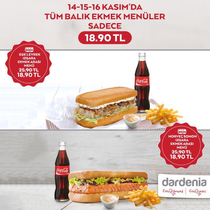 Buyaka Dardenia'da 16 Kasım'a kadar tüm balık ekmek menüler sadece 18,90TL! #BuyakaBiBaşka #Dardenia #BalıkEkmek #Kampanya
