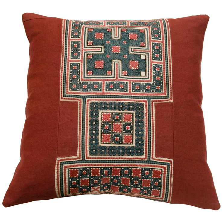 Vintage SE Asian Embroidery & Applique Panel Pillow | From a unique collection of antique and modern pillows and throws at http://www.1stdibs.com/furniture/more-furniture-collectibles/pillows-throws/