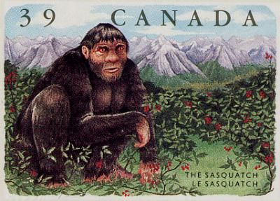 Canada produced this Bigfoot stamp in 1990.  The U.S. continues to lag behind other countries in monetizing Bigfoot via the cult of stamp collecting.