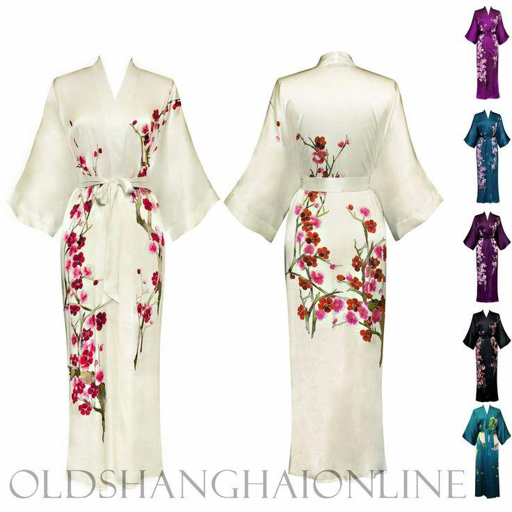 100% SILK KIMONO handpainted wrap robe long (More Colors) (HPKML)