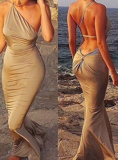 Oblique Shoulder Backless Slim Dress