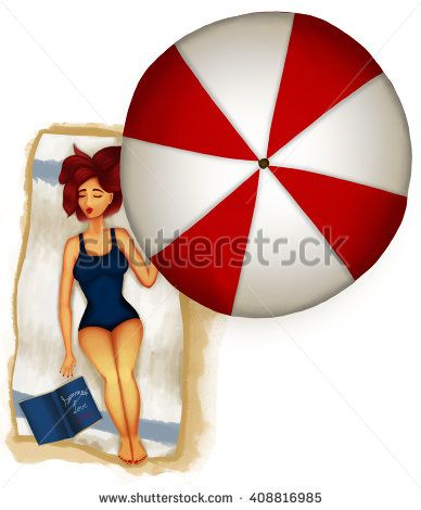 Illustration of a readhead girl taking a nap at the beach below a classic red and white umbrella after reading a summer love story. Wearing a blue one piece bathing dress.