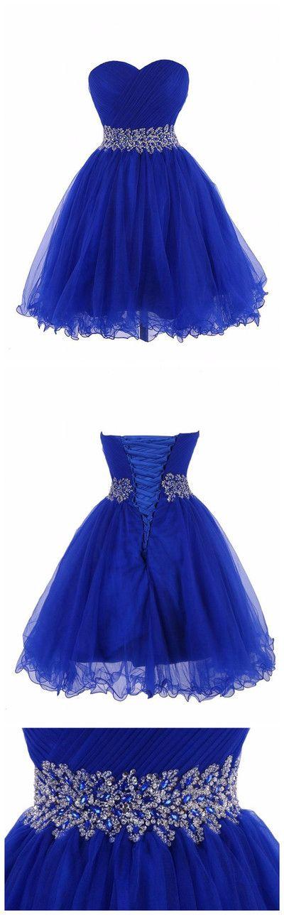 Strapless Royal Blue Dress for Graduation  Pelo Joelho Formal Beaded Homecoming Short Dresses
