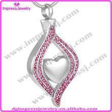 Ijd8111 coeur en cristal mode théière pendentif collier crémation bijoux pour les cendres(China (Mainland))