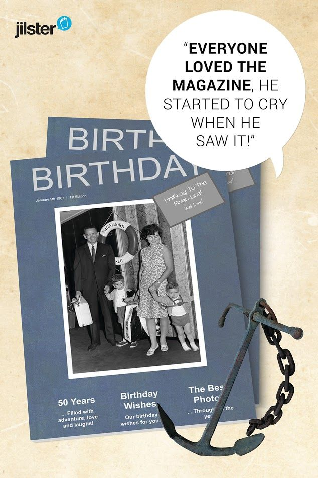 Birthday magazine for a friend. Birthday idea for friend turning 50. Make your own magazine with Jilster!