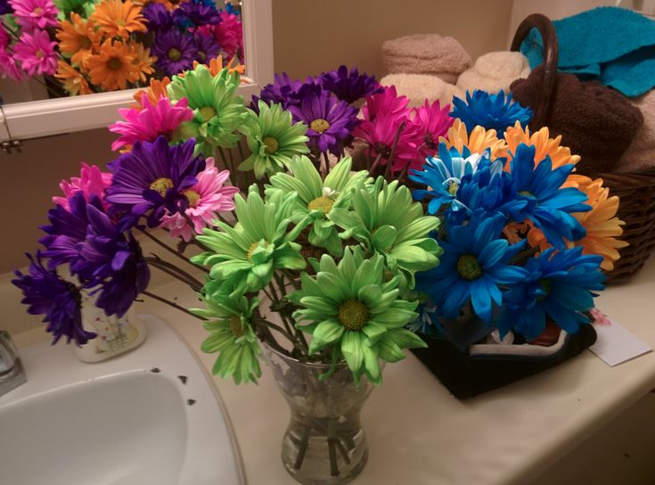 A beautiful bouquet of multi-colored daisies Chocolates and a fluffy stuffie