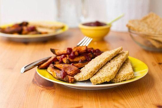 Easy Weeknight Dinner: Crispy Breaded Tofu Strips & Sweet Potato Fries — Oh She Glows