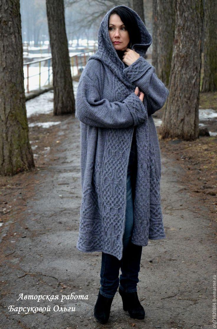 """Купить Авторское вязаное пальто с капюшоном """"Туманы Авалона"""" - авторская ручная работа, вязаное пальто"""