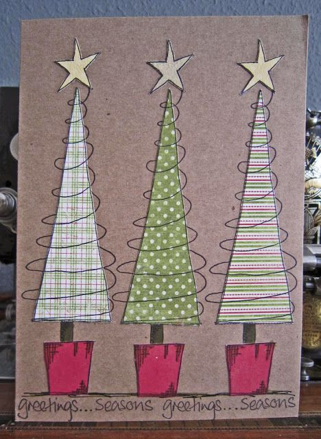 handmade Christmas card from Jo Firth-Young. Triangle trees in different green, white and red patterns