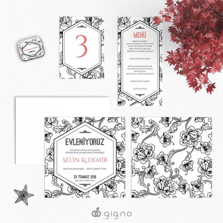Siyah ve beyaz aşkına... Floral desenli S&B düğün davetiyesi