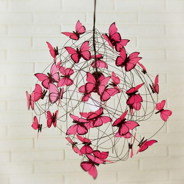"""Lampara con mariposas fucsia fluo """"Viva México"""" de AT LAST! Crafts por DaWanda.com"""