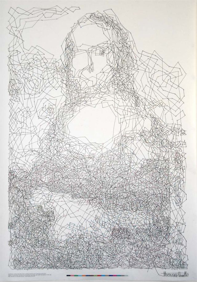 Australian-based artist Thomas Pavitte connected 6,239 dots in just over nine hours in what may be the world's most complex connect-the-dots drawing.: Dots To Dots, Mona Lisa, Drawings Art, 6 239 Dots, 6239 Dots, World Records, Thomas Pavitt, Connection The Dots, Monalisa