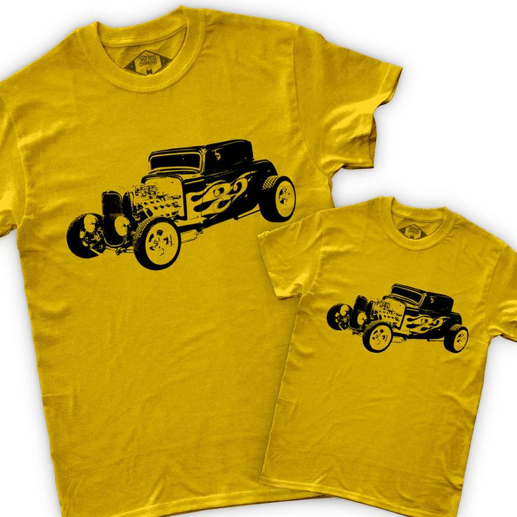 Father + Son (Daughter) Hot Rod T Shirts + 1932 Ford Coupe Flames + Youth Tee + Retro + Childrens T Shirt + Matching + Adult T Shirt = <3 by GreenDogDesign on Etsy