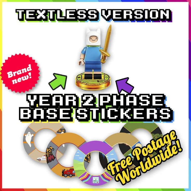 YEAR 2 Lego Dimensions Base Stickers - TEXTLESS - *WAVES 6 & 7*- 18 More Designs