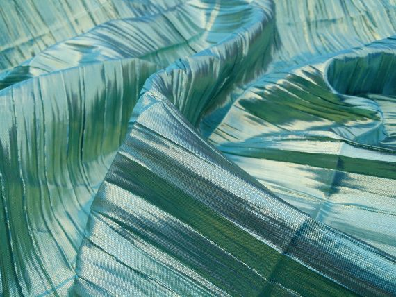 Turquoise/Green/Gold Pearl Lam� Pleated Metallic Paper Lame Fabric Per Metre