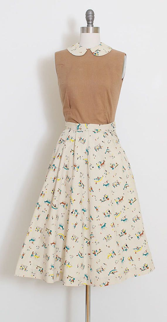 ➳ vintage 1950s skirt and top * darling novelty print * top and skirt * soft flat cotton * metal side and back zipper closures condition | small black smudge at back hem of skirt, few teeny tiny marks on top fits like xs skirt length 27.5 waist 22 top length 19 bust 33 ➳ shop http://www.etsy.com/shop/millstreetvintage?ref=si_shop ➳ shop policies http://www.etsy.com/shop/millstreetvintage/policy twitter | MillStVintage facebook | millst...