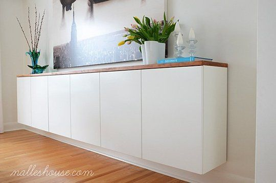 A gorgeous floating storage credenza is such a sleek and modern look to add to any room, and this one is made from affordable elements you can find at IKEA. See how to do it on Nalle's House.