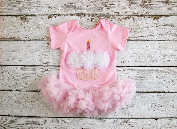 Birthday Tutu - Baby Girl First Birthday Outfit, 1st Birthday dress - Pink Cupcake Birthday onesie with tutu- baby girls birthday outfit