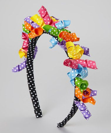 Take a look at this Black & Pink Polka Dot Korker Bow Headband by Fairy Bow Mother on #zulily today!