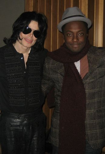 MJ and Black Eyed Peas singer Will I Am during a recording session for Thriller 25th at Studio X at The Palms Resort & Hotel in Las Vegas 2007