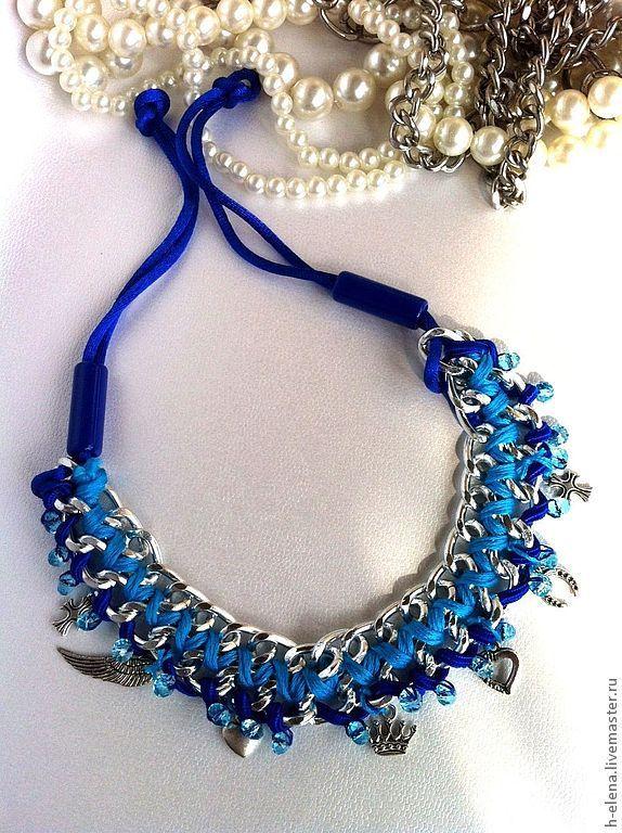 Купить Ожерелье УльтраСин - тёмно-синий, синий, колье, ожерелье, синий цвет, мулине