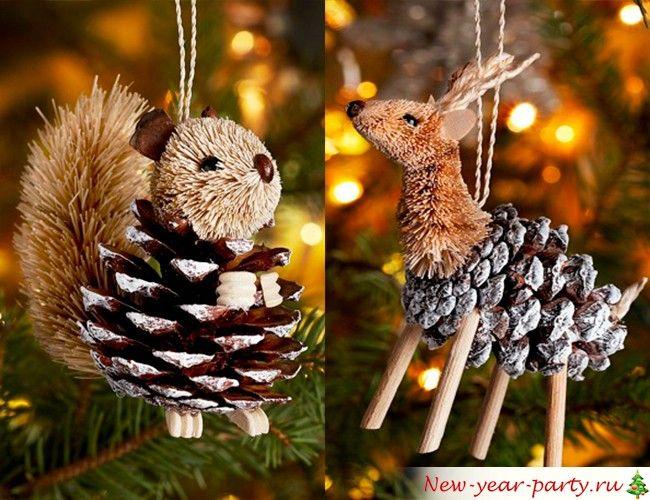 Изделия из шишек на елку