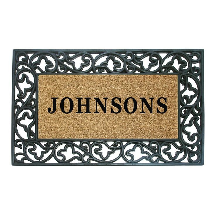 Creative Accents Wrought Iron Rubber Coir Mat Acanthus Border with Optional Personalization   from hayneedle.com
